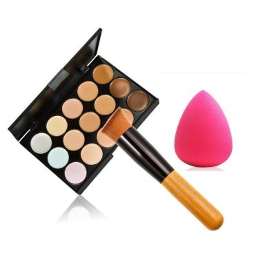 Leisial 15 colori Concealer Palette set + spazzolino + spugne Puff trucco Tool sponge-face polvere