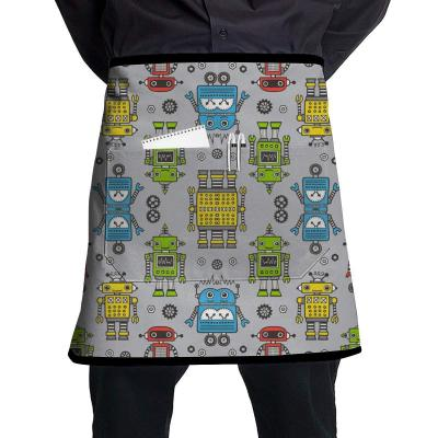MSGDF Robots On Gray Polyester Waist Apron with Pockets Adjustable Long Strap Waterproof Apron for Server Kitchen Garden Shop Or BBQ